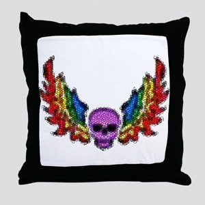 PURPLE SKULL W/RAINBOW WINGS Throw Pillow