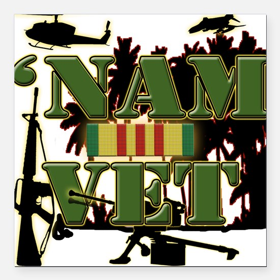 US Vietnam Veteran Square Car Magnet