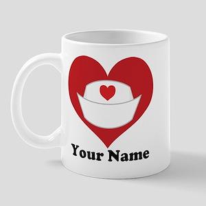 Personalized Nurse Heart Mug