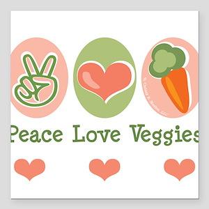 Peace Love Veggies Vegan Square Car Magnet