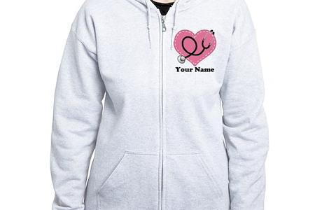 Personalized Nurse Heart Womens Zip Hoodie