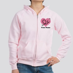 Personalized Nurse Heart Women's Zip Hoodie