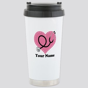 Personalized Nurse Heart Stainless Steel Travel Mu