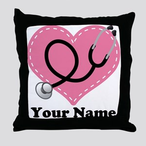 Personalized Nurse Heart Throw Pillow