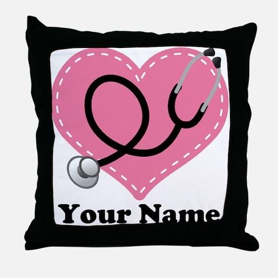 Personalized Nurse Heart Throw Pillow