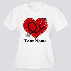 Personalized Nurse Heart Women's Plus Size V-Neck