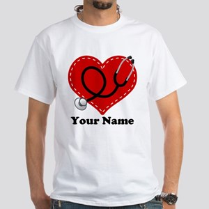 Personalized Nurse Heart White T-Shirt