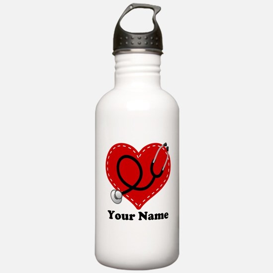 Personalized Nurse Heart Sports Water Bottle