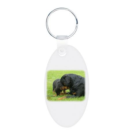 Rottweiler 9W025D-079 Aluminum Oval Keychain