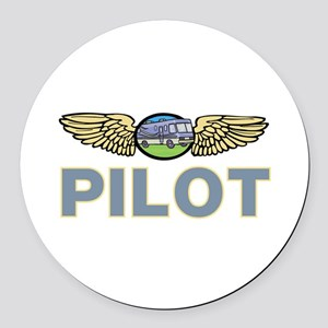 RV Pilot Round Car Magnet