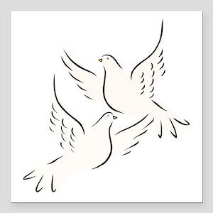 White Doves Square Car Magnet 3