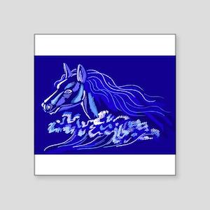 "1058h7394bluenighthorse Square Sticker 3"" x 3"""