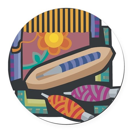 21547238weaving.png Round Car Magnet