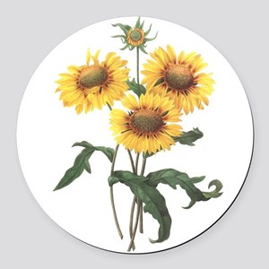 Redoute Sunflowers Round Car Magnet