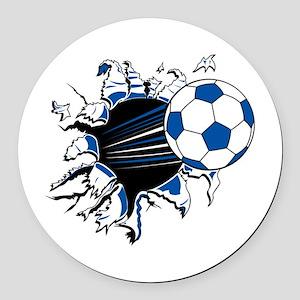 Soccer Ball Burst Round Car Magnet