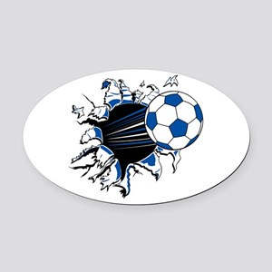 Soccer Ball Burst Oval Car Magnet