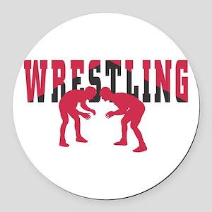 Wrestling 2 Round Car Magnet