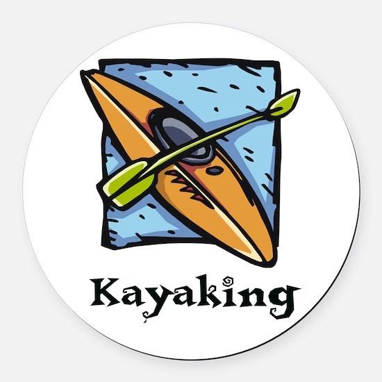 Kayaking Round Car Magnet