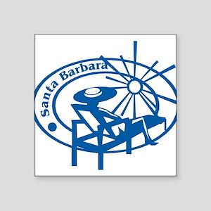 "santa barbara stamp1075h1886 Square Sticker 3"""