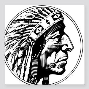 """Indian Head Square Car Magnet 3"""" x 3"""""""