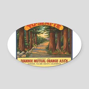 063yosemite oranges Oval Car Magnet