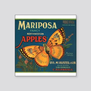 001mariposa butterfly apples Square Sticker 3""