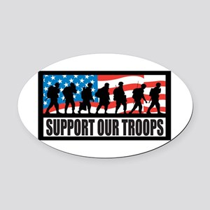 Support our troops - Infantry Oval Car Magnet