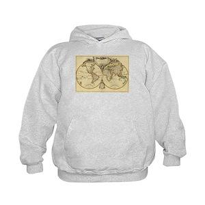 World Map Sweater.Old World Map Kids Hoodies Sweatshirts Cafepress