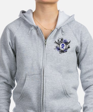 Wings and Ribbon Colon Cancer Zip Hoodie