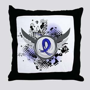 Wings and Ribbon Colon Cancer Throw Pillow