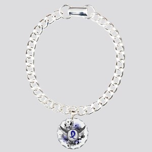 Wings and Ribbon Colon Cancer Charm Bracelet, One