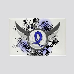 Wings and Ribbon Colon Cancer Rectangle Magnet