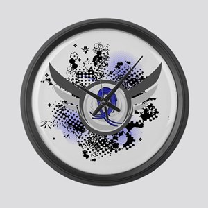 Wings and Ribbon Colon Cancer Large Wall Clock