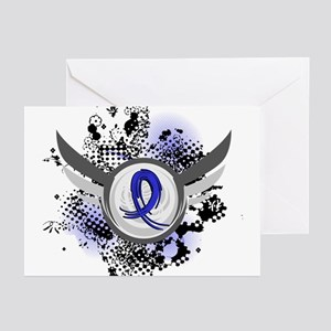 Wings and Ribbon Colon Cancer Greeting Cards (Pk o
