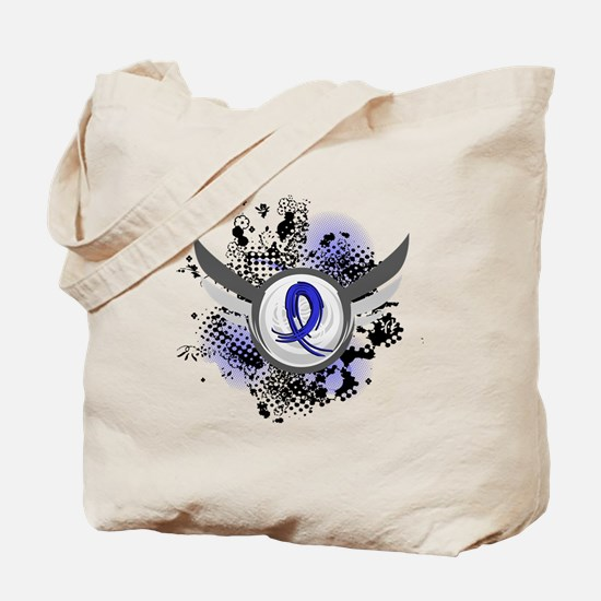 Wings and Ribbon Colon Cancer Tote Bag