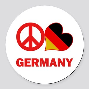 Peace Love Germany Round Car Magnet