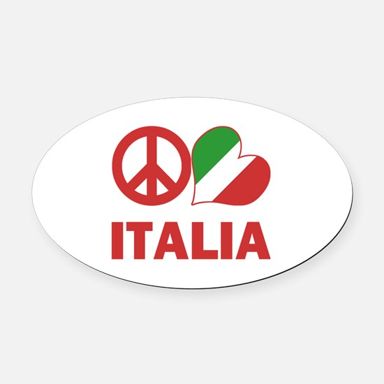 Peace Love Italy Oval Car Magnet