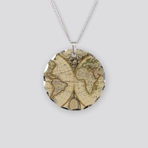 Old Fashioned World Map (178 Necklace Circle Charm