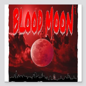 """blood red moon Square Car Magnet 3"""" x 3"""""""