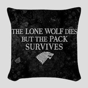 GOT Lone Wolf Dies Woven Throw Pillow