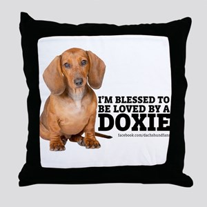 Loved by a Doxie Throw Pillow