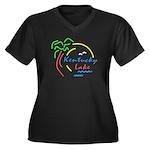 Kentucky Lake Women's Plus Size V-Neck Dark T-Shir