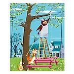 Fox & Bear Prune a Tree Small Poster