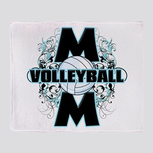 Volleyball Mom (cross) Throw Blanket