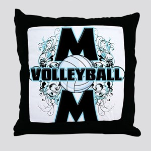 Volleyball Mom (cross) Throw Pillow