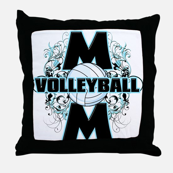 Volleyball Mom (cross).png Throw Pillow