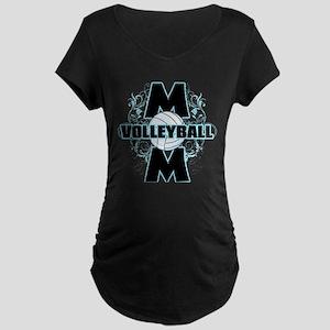 Volleyball Mom (cross) Maternity Dark T-Shirt