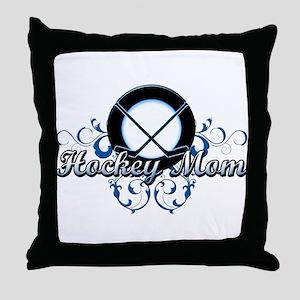 Hockey Mom (puck) Throw Pillow