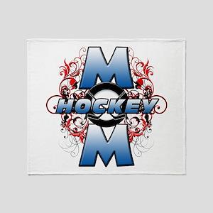 Hockey Mom (cross) Throw Blanket