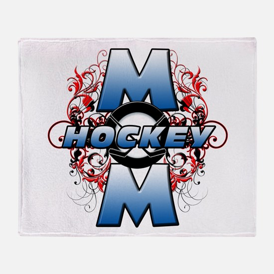Hockey Mom (cross).png Throw Blanket